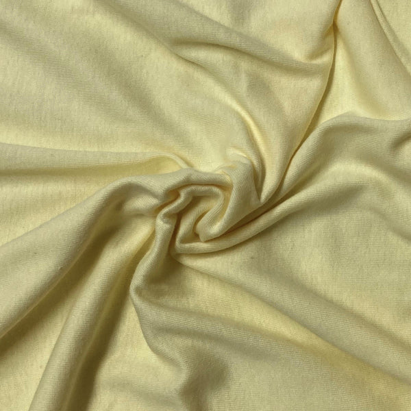 "Pale Yellow Organic Cotton Rib Knit - 50"" Cut - Nature's Fabrics"