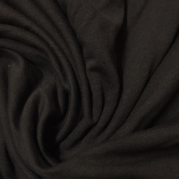 Dark Brown Bamboo Stretch French Terry - 300 GSM