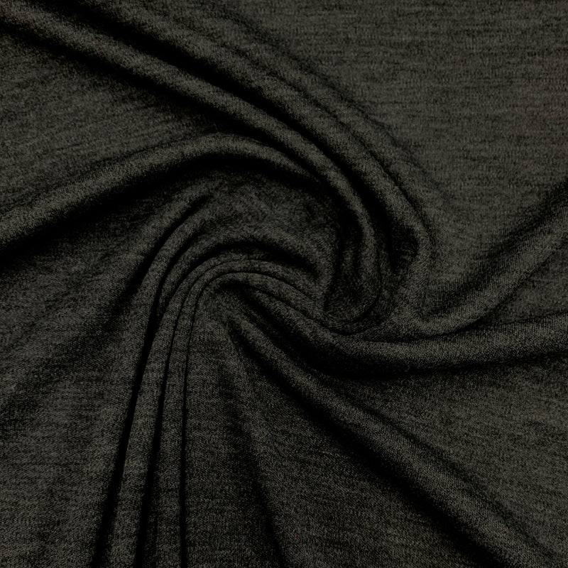 Dark Charcoal Merino Wool/Polyester Interlock