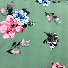 Pink and Blue Flowers on Sage Double Brushed Polyester/Spandex Jersey