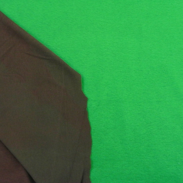 "Green and Brown Double-sided Cotton Rib Knit  This fabric is approximately 60"" wide."