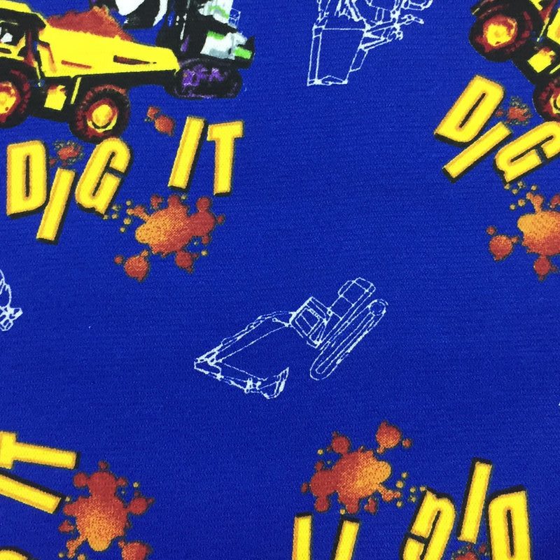 Can You Dig It Dump Trucks on Blue Cotton Interlock