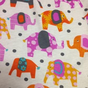 Elephants on Organic Cotton Jersey