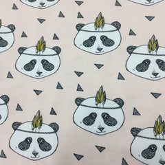 Panda with Feathers on Light Pink Organic Cotton/Spandex Jersey