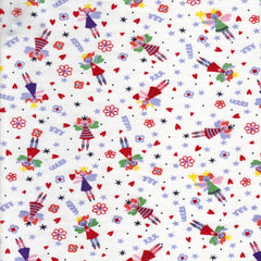 Primary Fairies On White Cotton Jersey