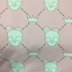 Girl Skulls on Pink Organic Cotton/Spandex Jersey