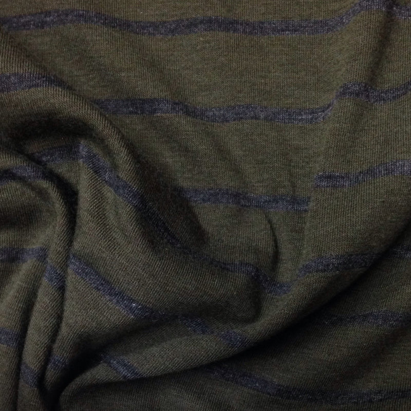 Dark Green and Charcoal Stripes on Bamboo/Spandex Jersey