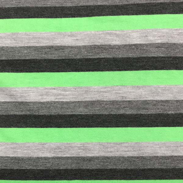 "Green and Gray 1/2"" Stripes on Cotton Jersey"