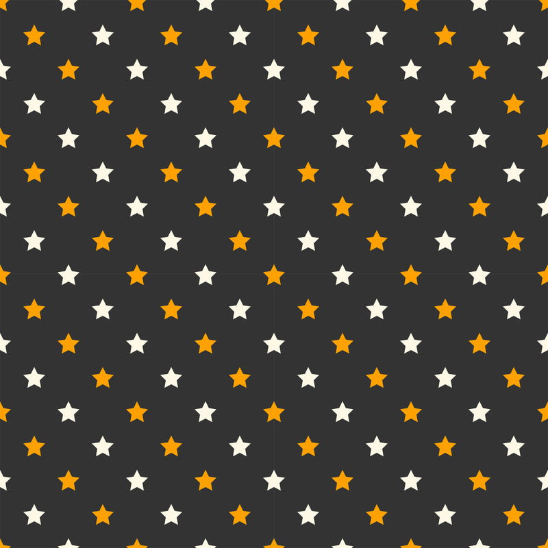 Halloween Stars on Black Organic Cotton/Spandex Jersey