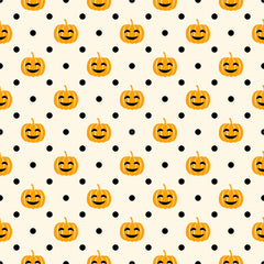 Pumpkins and Dots on Natural Organic Cotton/Spandex Jersey