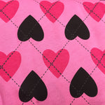 Harlequin Hearts on Pink Cotton Jersey