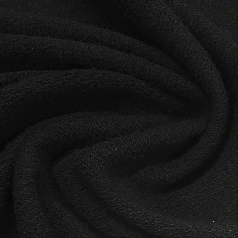 Black Heavy Organic Cotton French Terry -  Grown in the USA