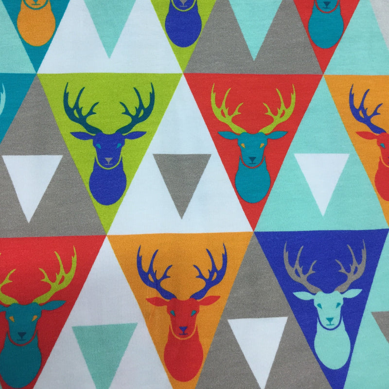 Hipster Deer (Blue) on Organic Cotton/Spandex Jersey