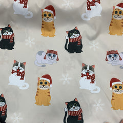 Holiday Cats on 1 mil PUL- Made in China