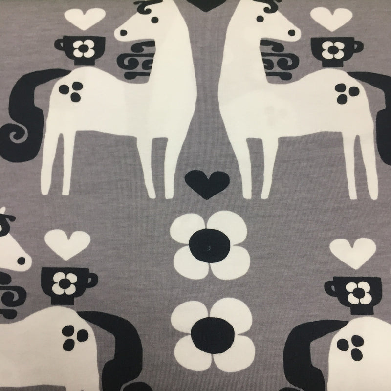 Horses on Gray Organic Cotton/Spandex Jersey