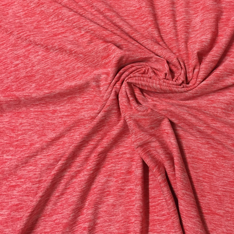 Hot Coral Space Dye on Poly/Spandex Jersey