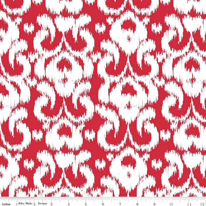 Ikat Red on Cotton/Spandex Jersey