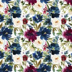 Red and Blue Flowers on Bamboo/Spandex Jersey