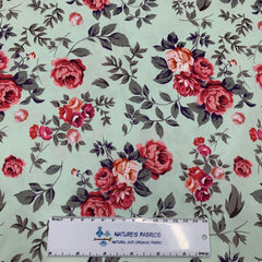 Shabby Roses on Bullet Knit - Nature's Fabrics