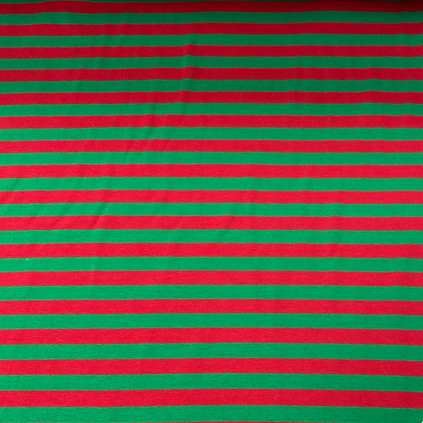 "Red and Green 3/8"" Stripes on Cotton/Spandex Jersey"