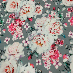 Pink Roses on Gray 1 mil PUL - Made in the USA