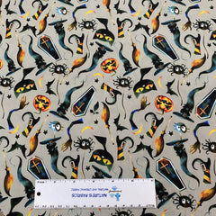 Witch's Fun on Gray Bamboo/Spandex Jersey - Nature's Fabrics