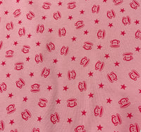 Monkey Heads on Pink Cotton Rib