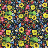 Western Wildflowers on Navy 1 mil PUL - Made in the USA - Nature's Fabrics