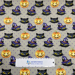 Halloween Cats on Gray 1 mil PUL - Made in the USA - Nature's Fabrics
