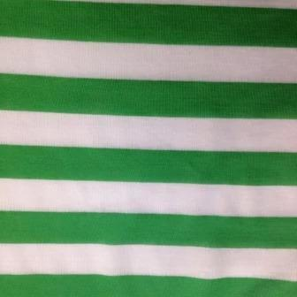 "Green and White 3/4"" Stripes on Cotton/Poly Jersey"
