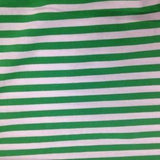 "Green and White 3/8"" Stripes on Cotton/Spandex Jersey"