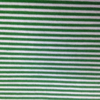 Green and White Micro Stripes on Cotton/Poly Jersey