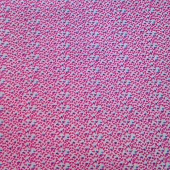 Pink Micro Flowers on White Cotton Jersey