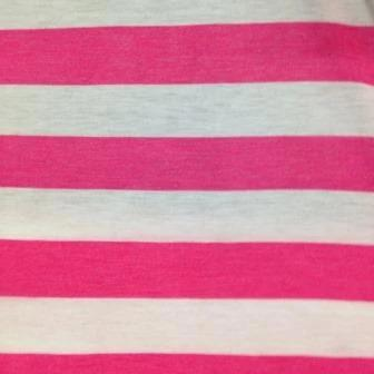 "Hot Pink and White 1 1/4"" Stripes on Cotton/Poly Jersey"