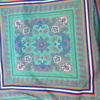 Paisley Squares on Green Cotton/Poly Jersey