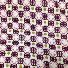 Maroon and Pink Border Print on Natural Cotton/Poly Jersey