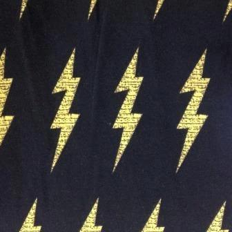 Lightning on Black Organic Cotton/Spandex Jersey
