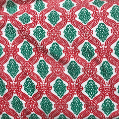 Red and Green Fleur Cotton Rib