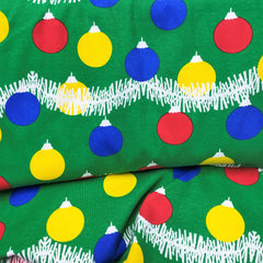 Ornaments on Green Cotton Rib