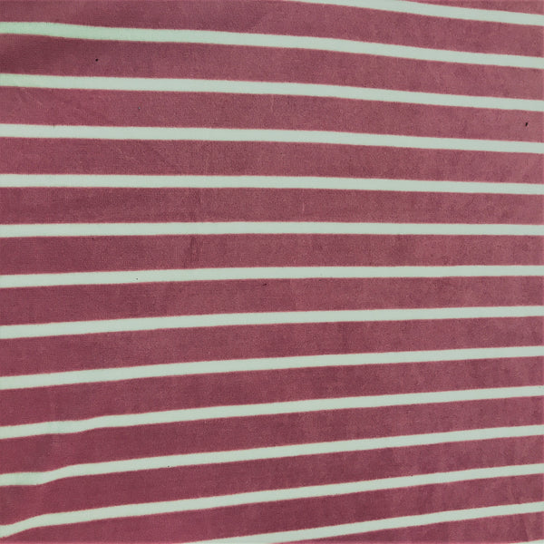 Natural and Berry Stripe Cotton Velour
