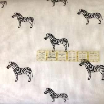 Zebra on White Cotton Thermal