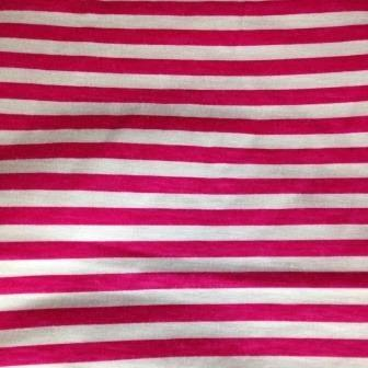 "Pink and White 1/4"" Stripes on Cotton Jersey"