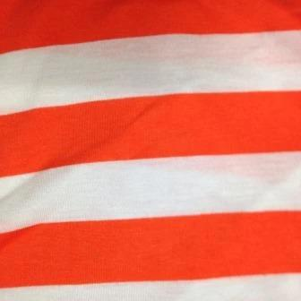 "Orange and White 1 1/4"" Stripes on Cotton Jersey"