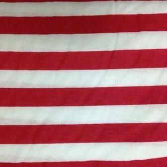 "Red and White Faded 1/2"" Stripes on Cotton Jersey"
