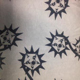 Black Stars on Gray Cotton Fleece