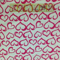 Pink Hearts on White Cotton Poly Jersey