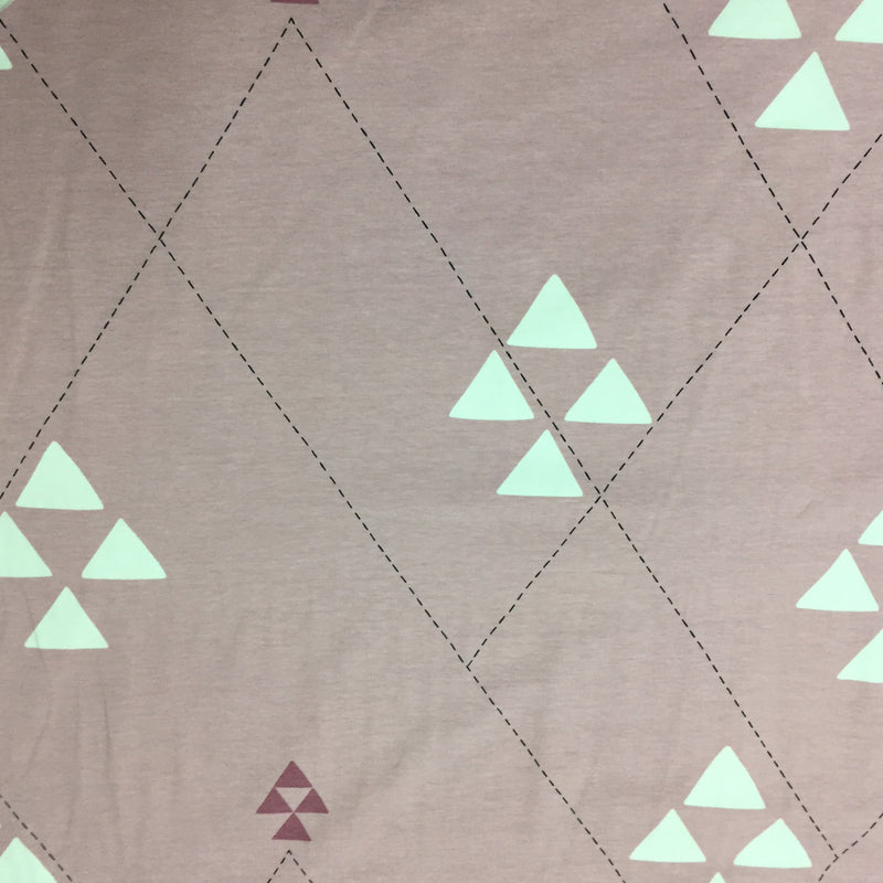 Triangles on Pink Organic Cotton/Spandex Jersey