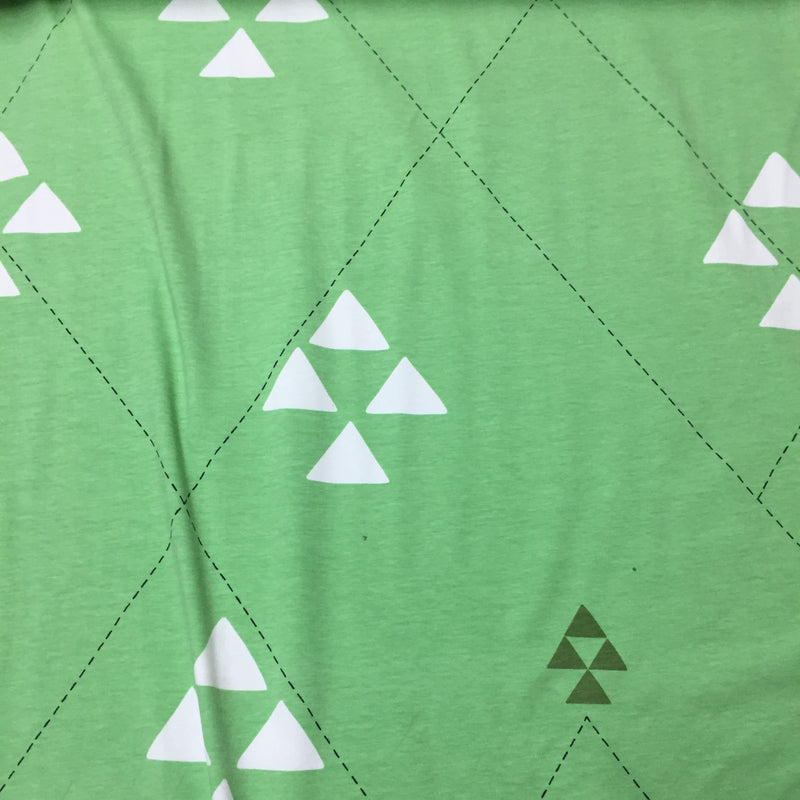 Triangles on Green Organic Cotton/Spandex Jersey