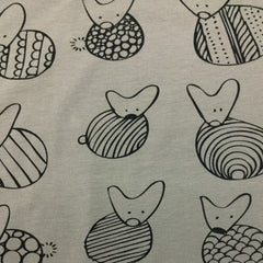 Bunnies on Gray Organic Cotton/Spandex Jersey