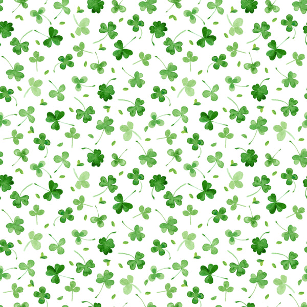 Shamrocks on White Polyester Stretch Mallow